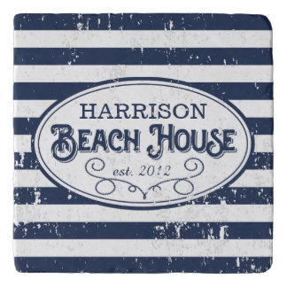 Vintage Beach House Personalized Navy and White Trivet