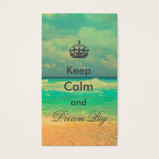 """vintage beach """"Keep Calm and Dream Big"""" quote Business Card"""