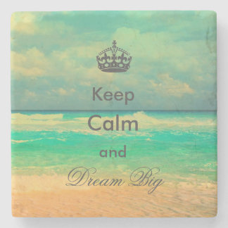 """vintage beach """"Keep Calm and Dream Big"""" quote Stone Beverage Coaster"""