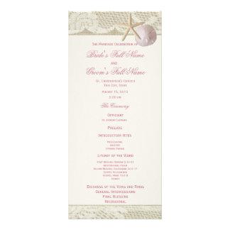 Vintage Beach Lace and Burlap Wedding Program Rack Card Design