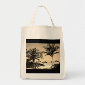 Vintage Beach Palm Trees Grocery Bag