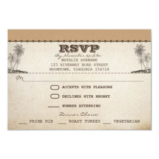 vintage beach palms unique wedding rsvp cards