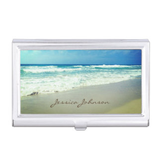 Vintage Beach Personalized Name Business Card Holder