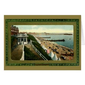 Vintage beach scene Lowestoft Edwardian framed Card