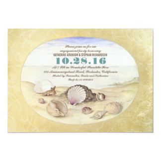 "Vintage beach seashells engagement party invites 5"" x 7"" invitation card"