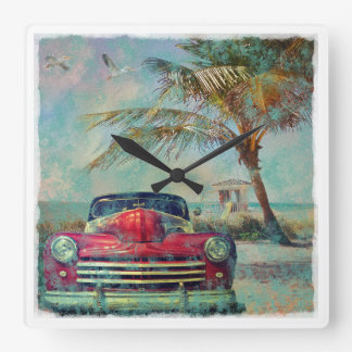 Vintage Beach Square Wall Clock