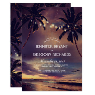 Vintage Beach Sunset Palm Lights Engagement Party Card