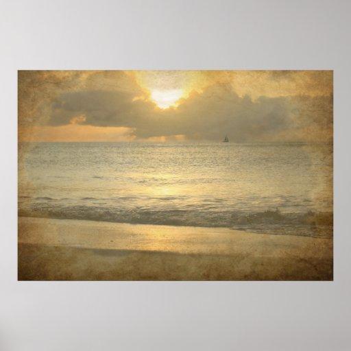 Vintage beach sunset Poster