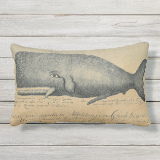 Vintage Beach Whale Outdoor Patio Lumbar Outdoor Cushion