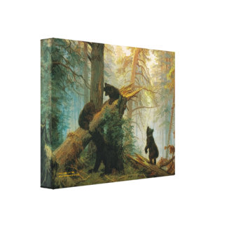 Vintage Bear Cubs by Ivan Shishkin Stretched Canvas Print