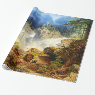 Vintage Bear Hugs Woodland Mountain Forest Wrapping Paper