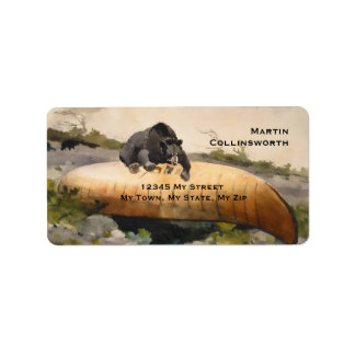 Vintage Bear on a Canoe Art Address Label