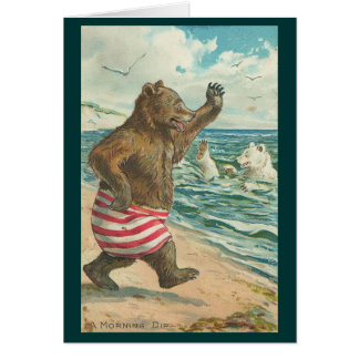 Vintage - Bears Morning Dip Card