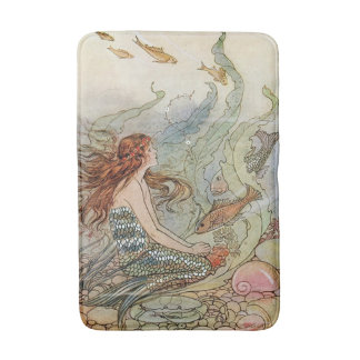 Vintage Beautiful Girly Mermaid Under The Sea Bath Mats