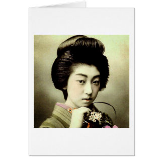 Vintage Beautiful Japanese Geisha Posing Old Japan Card