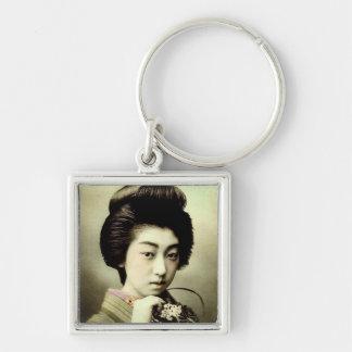 Vintage Beautiful Japanese Geisha Posing Old Japan Silver-Colored Square Key Ring