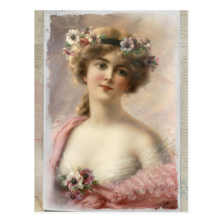 vintage-beautiful lady postcard