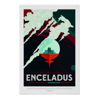Vintage Beautiful Southern Enceladus Travel Poster