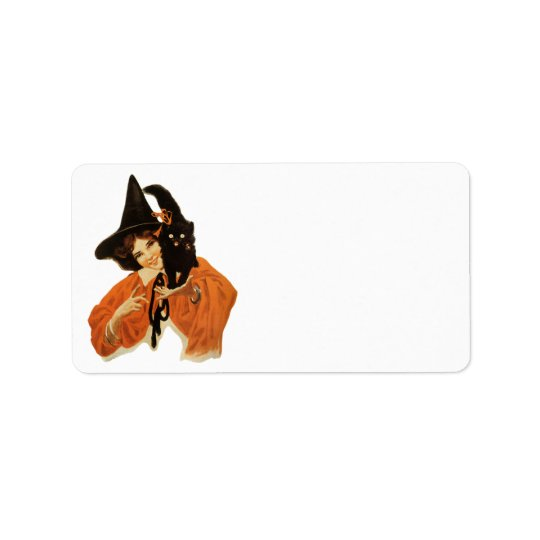 Vintage Beautiful Witch with Black Cat On Shoulder Address Label