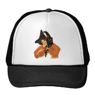 Vintage Beautiful Witch with Black Cat On Shoulder Mesh Hat