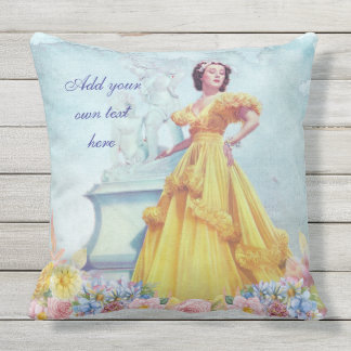 Vintage Beautiful Woman Yellow Evening Gown Floral Outdoor Cushion