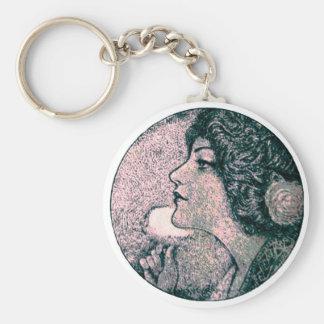 Vintage Beauty Basic Round Button Key Ring