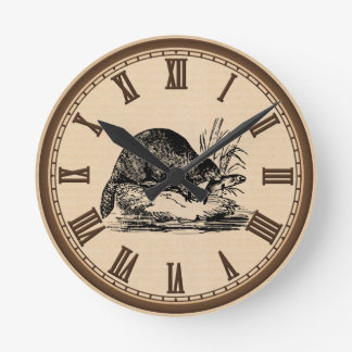 Vintage Beaver and fish roman number wall clock