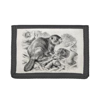 Vintage Beaver Illustration Retro Beavers and Dam Trifold Wallet
