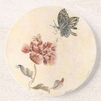 Vintage Bee, Butterfly and Poppy Watercolor Coaster