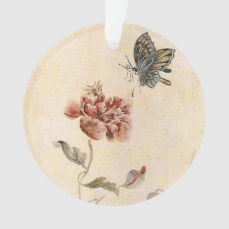 Vintage Bee, Butterfly and Poppy Watercolor Ornament