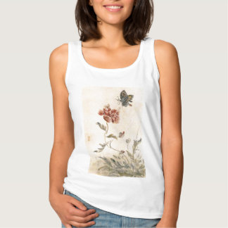 Vintage Bee, Butterfly and Poppy Watercolor Singlet