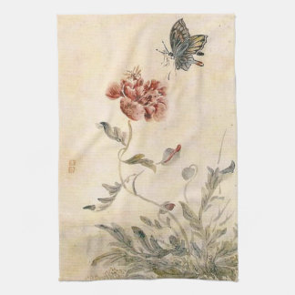 Vintage Bee, Butterfly and Poppy Watercolor Tea Towel