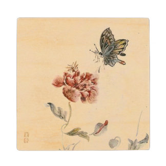 Vintage Bee, Butterfly and Poppy Watercolor Wood Coaster