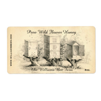 Vintage Bee Hives Honey Jar Label