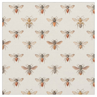 Vintage Bee Illustration Pattern Fabric