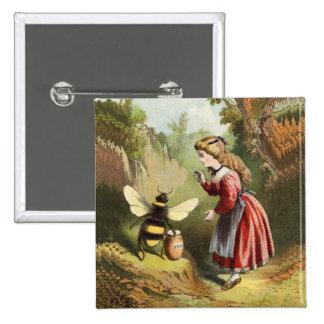 Vintage Bee Little Girl Honey Pot 15 Cm Square Badge