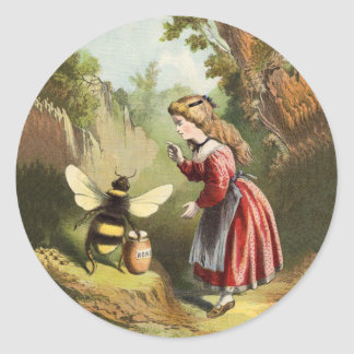 Vintage Bee Little Girl Honey Pot Classic Round Sticker