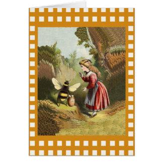 Vintage Bee Little Girl Honey Pot Note Card