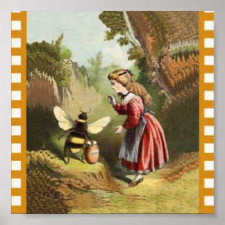 Vintage Bee Little Girl Honey Pot Poster