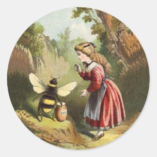 Vintage Bee Little Girl Honey Pot Round Sticker