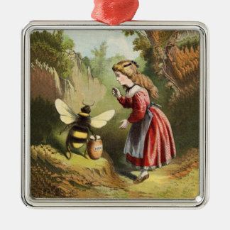 Vintage Bee Little Girl Honey Pot Silver-Colored Square Decoration