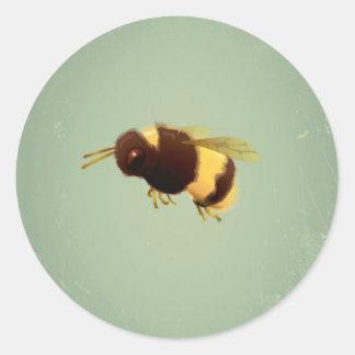 Vintage Bee On Green Background Pattern Round Sticker