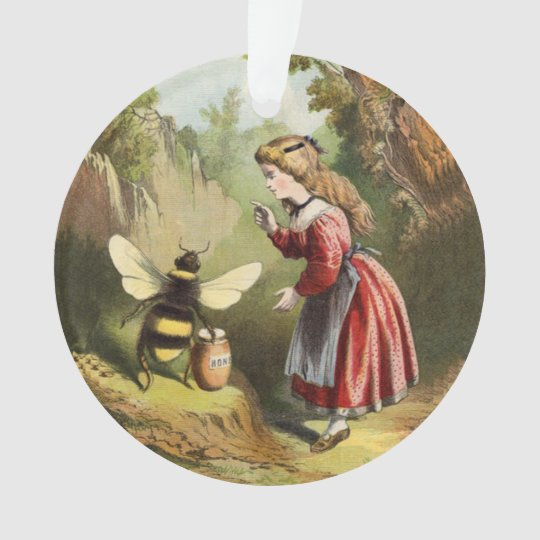 Vintage Bee Victorian Girl Honey Pot in Forest Ornament