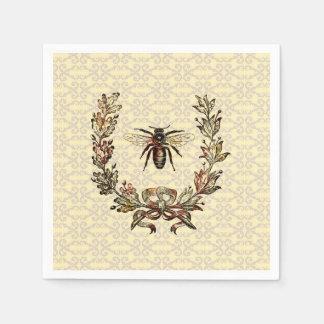 Vintage Bee Wreath Disposable Serviette