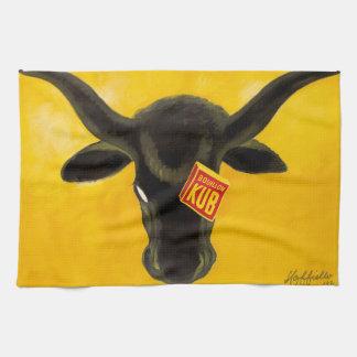 Vintage Beef Bouillon Cube Kitchen Towel Bull Art