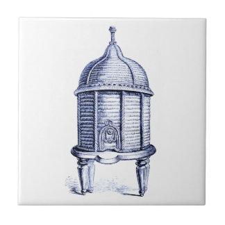 Vintage Beehive Blue Tint Small Square Tile