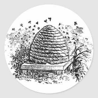 Vintage Beehive Honey Bees Beekeeping Classic Round Sticker