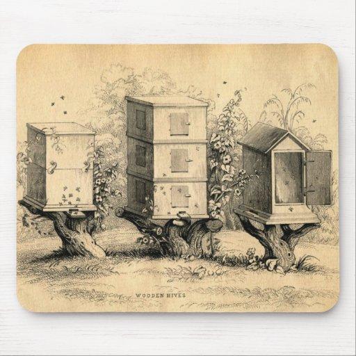 Vintage Beekeeping Beehives Beehive Mousepads