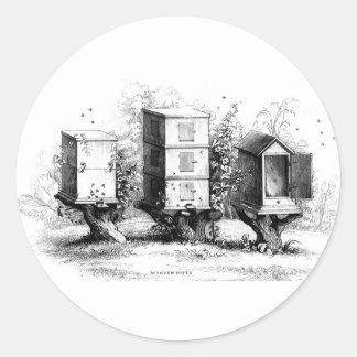 Vintage Bees Beekeeping Beehives Beehive Round Sticker