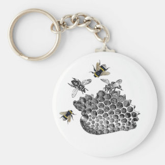 Vintage Bees Basic Round Button Key Ring